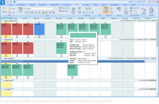 Collaborative, organization wide resource scheduling solution with multi-resource view.