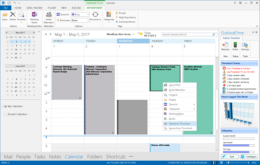 Outlook Time traking system