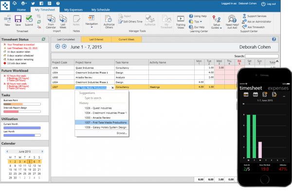 Timesheet entry and time tracking via PC, Mac, iPhone, Android & Windows Phone.