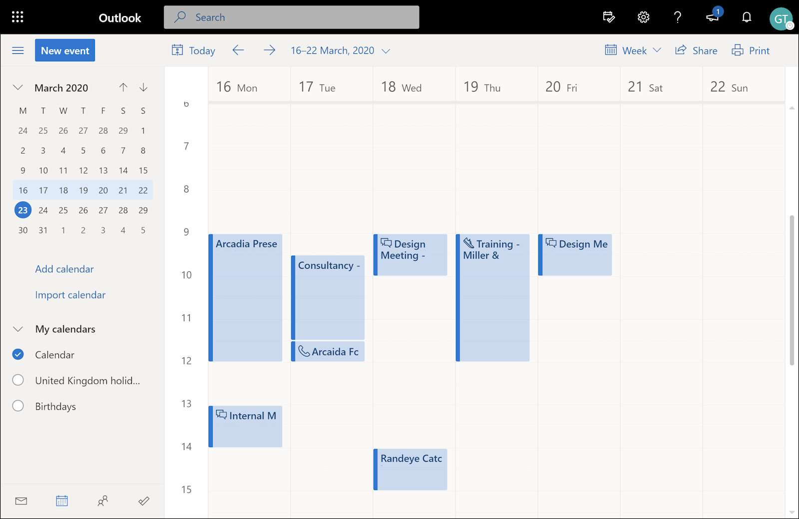 Outlook calendar to post to timesheet