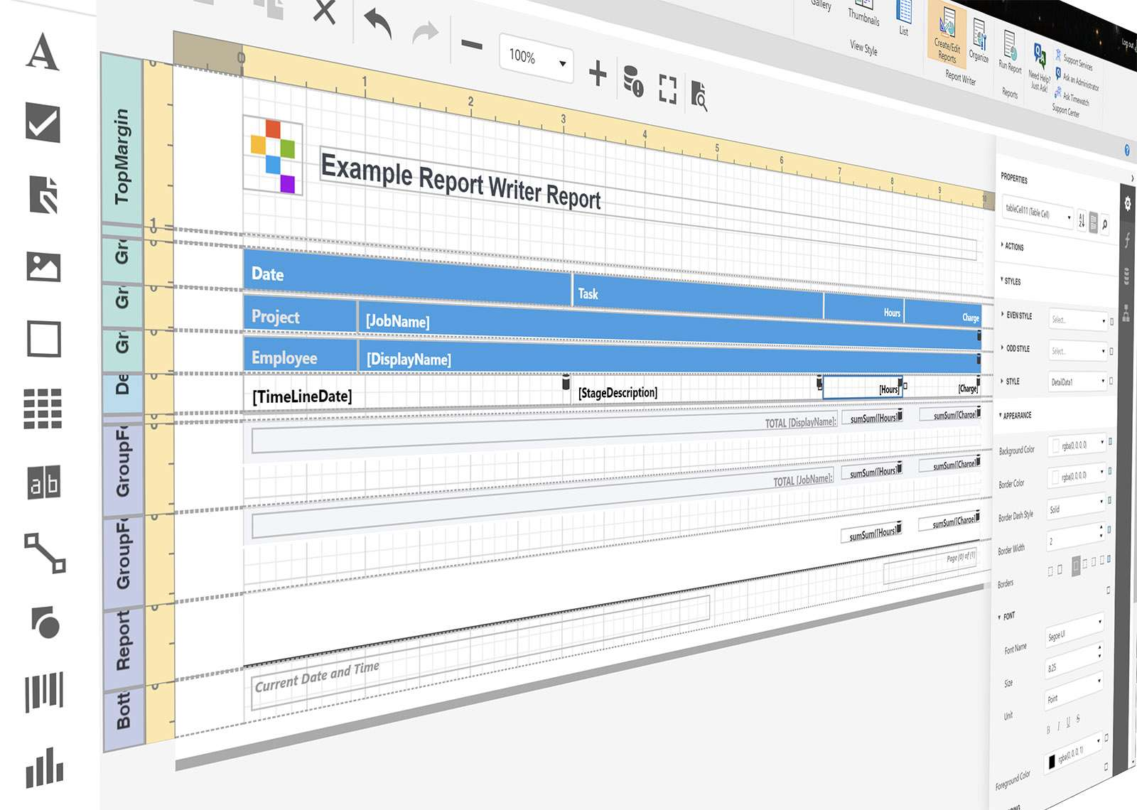 timesheet report writer