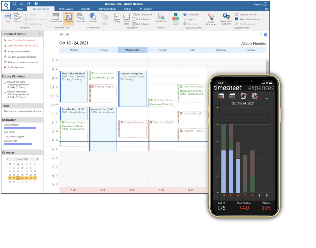 Outlook Timesheet Time Tracking